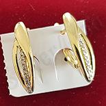 Cercei auriti cu aur de 14K si zirconii albe - 2 cm - ZS1800