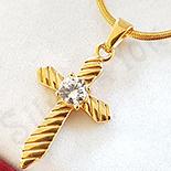 Cruce in culoarea aurului cu zircon alb si lant inclus - LR108A