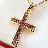 Crucifix aurit cu aur de 14K si zirconii rosii - ZS1797