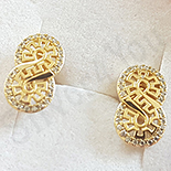 Cercei in culoarea aurului 14K zirconii albe - 1.5 cm - ZS1973