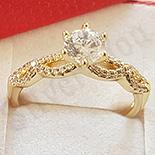 Inel in culoarea aurului 14K zirconii albe - ZS1955