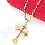 Cruce inox aurit floare de crin cu lant inclus - LR408A