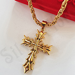Cruce inox aurit cu lant inclus - LR416A