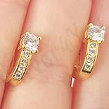 Cercei auriti cu aur de 14K zirconii albe - 1.2 cm - ZS1970