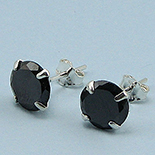 Bijuterii Argint - Cercei argint si zircon negru/6 mm - CS32D