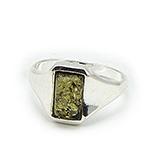 Bijuterii argint cu chihlimbar - Inel argint cu chihlimbar verde - IC111