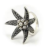 Bijuterii argint cu perle - Inel argint cu marcasite si perlute - IS515