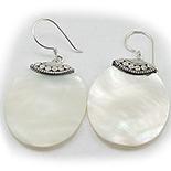 Bijuterii argint cu abalone - Cercei argint si sidef alb - CL63