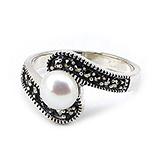Bijuterii argint cu perle - Inel argint cu marcasit si perla - IO242
