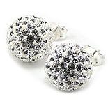 Bijuterii argint de mireasa - Cercei argint cu cristale albe/8 mm - CF11