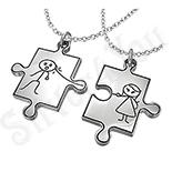 Bijuterii cu zirconii - Pandantive inox cuplu puzzle + 2 lanturi - PF463A