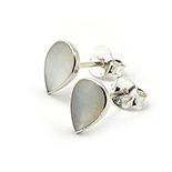 Bijuterii argint de mireasa - Cercei argint micuti cu sidef alb - CF763