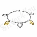 Bijuterii Argint - Bratara inox  cu inimioare - BF945