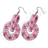 CERCEI - Cercei fimo cu flori roz - BF1216