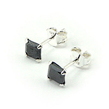 Bijuterii Argint - Cercei argint cu piatra de zirconiu negru/4 mm - CF1034