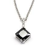 LANTURI - Lant cu pandantiv din argint cu zirconii si onix - LF1006
