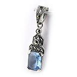 SETURI Argint si Marcasit - Pandantiv argint marcasit si zircon bleu - BF5076