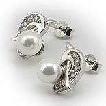 Bijuterii argint de mireasa - Cercei argint cu zircon cubic si perluta - BF5042