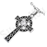 Pandantive crucifix - Pandantiv cruce gri si negru - PK1031