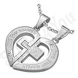 Pandantive crucifix - Set pandantive indragostiti inima si cruce - PK1071