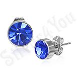 Bijuterii Inox - Cercei inox rotunzi cu piatra rotunda albastra 7 mm - PK1767