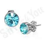 Bijuterii Inox - Cercei inox rotunzi cu piatra rotunda bleu 7 mm - PK1768