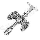 Pandantive crucifix - Pandantiv inox inima si cruce cu aripi de inger - PK1822