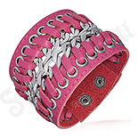 Cadouri Femei 1-8 Martie - Bratara piele roz lata si lant dublu - PK2137