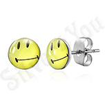 Bijuterii Inox - Cercei inox Smiley Face galbeni - BM262
