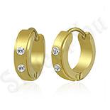 Bijuterii Inox - Cercei inox auriti cu zirconi albe - PK1532
