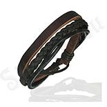 BRATARI ARGINT - Bratara piele maro si negru - PK1676