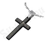 """Pandantive crucifix - Pandantiv inox cruce neagra cu """"Tatal Nostru"""" - PK1596"""