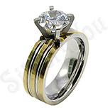 - Inel inox aurit dama cu zircon alb - BR6123