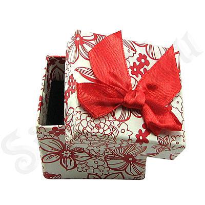 Cutii Bijuterii - Cutie cartonata cu fundita rosie ptr inel - BG6025
