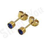 Bijuterii Inox - Cercei inox aurit si zircon albastru turcoaz/4 mm - BR6163