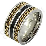 Bijuterii Inox - Inel inox cu portiuni aurite/11 mm - BR6203