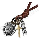 Pandantive crucifix - Colier fashion piele maro cu pandantiv cruce ceas placuta - PK2228