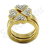 INELE - Set inele inox aurit si cristale albe - BR6038