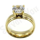 Inel inox aurit cu zircon alb - BR6029