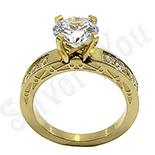 Inel inox aurit si zirconii albe - BR6031