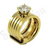 INELE - Set inele inox aurit si zirconii albe - BR6026
