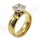 Inel inox aurit cu zircon alb - BestSeller - BR6053