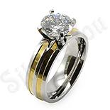 Inel inox aurit cu zircon alb - BestSeller - BR6059