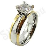Inel inox aurit cu zircon alb - MICI imperfectiuni - BR6312A