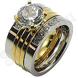 Set inele inox aurit si zirconii albe - BR6430