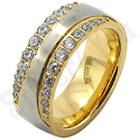 INELE - Inel  inox aurit cu zirconii albe - BR6450