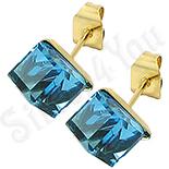 Bijuterii Inox - Cercei inox cu piatra cubica bleu/ 5 mm - BR6454