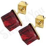 Bijuterii Inox - Cercei inox cu piatra cubica rosie - BR6452