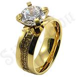 INELE ARGINT - Noutati! - Inel de logodna din inox aurit cu zirconii - BR6350