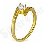 Bijuterii cu zirconii - Inel inox in culoarea aurului cu zircon alb - LR5090